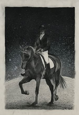 Night Riding 1997 Charcoal 83 x 56cm