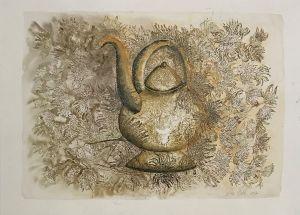5. Bulb Tea Pot 2014 collograph & watercolor 56 x 76cm