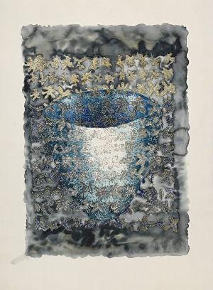 7. Blue Bowl 2014 collograph & watercolor 76 x 56cm