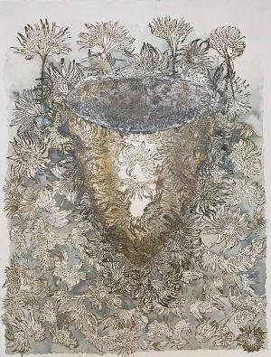 1. Leaf Bowl 2014 collograph & watercolour 76 x 56cm