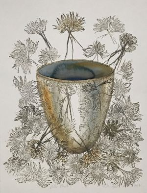 4. Bulb Bowl 2014 collograph & watercolor 76 x 56cm
