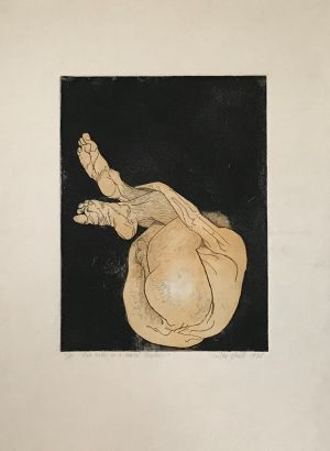Male Nude in Foetal Position 1987 Hand coloured Etching 76 x 56cm