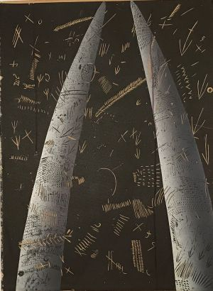 Shaped Stone Marking 1st state 1992 reduction linocut 76 x 56cm