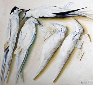 Sea Birds with Bird Bags 2007 Oil on linen 76.5 x 83.5cm