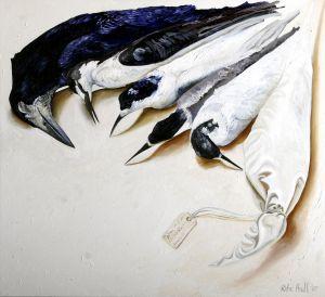Birds And Bird Bag 2007 Oil on linen 77x84cm