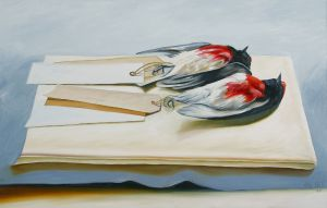 Floating Robins 2008 oil on canvas 70x110cm