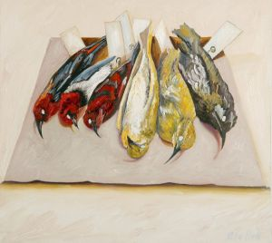 Small Red And Yellow Birds 2007 Oil on canvas 50x56