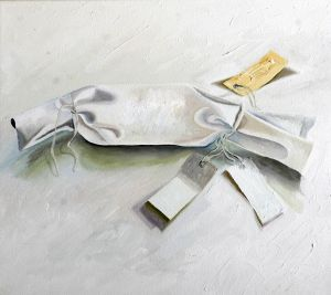 Six Birds With Packaging 2006 Oil on canvas Part 6 Total size 80x135cm