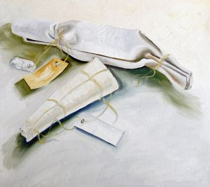 Six Birds With Packaging 2006 Oil on canvas Part 4 Total size 80x135cm