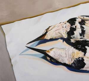 Pied Kingfishers 2008 oil on canvas 60x66cm